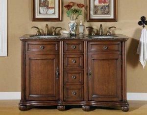 "52"" Adela - English Chestnut Finish Cabinet Bathroom Granite Double Sink Vanity 0180"