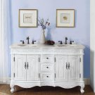 "58"" Andrea - Marble Top Double Sink Bathroom Vanity Cabinet White Oak Finish 0145"