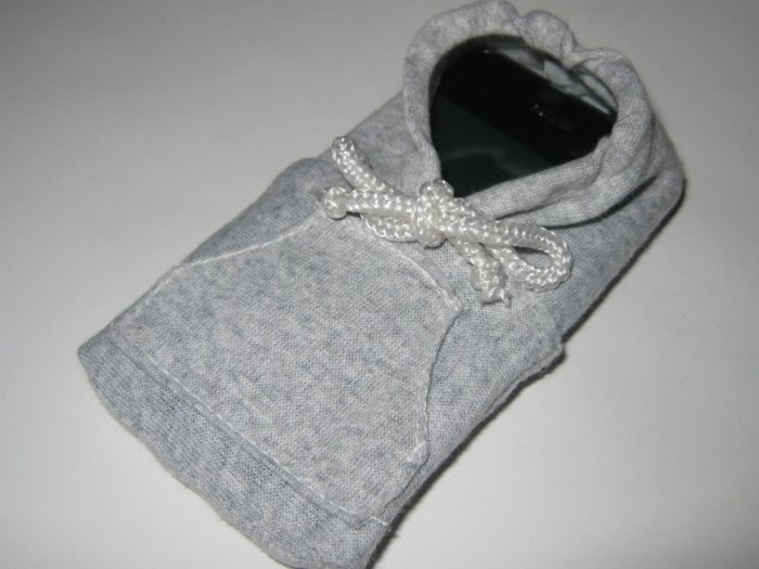 Grey iPhone / iTouch / iPod Classic Hoodie Sweater Phone Sleeve