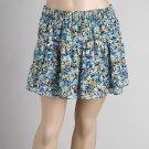 Blue Floral Flirty Teired Skirt (C4-812)