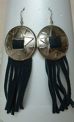 Large Casual Blue Leather Shoulder Duster Earrings Jewelry