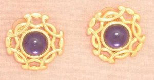 Paolo Signed Pierre Carden Amethyst Cab Earrings Post Jewelry