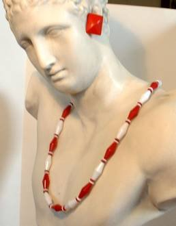 c1950 Necklace Earrings Married Set Retro Red White Art Deco Style Jewelry