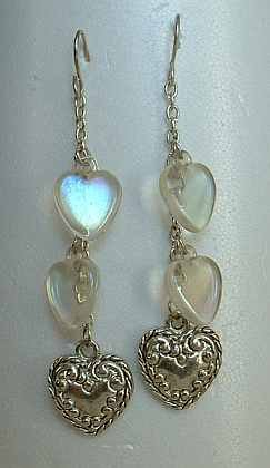 Lucite Hearts Dangle Earrings Embossed Vintage Jewelry