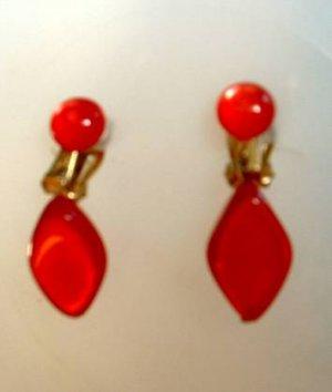 Vintage Red Lucite Moonglow Dangle earrings Japan