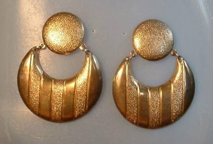 Vintage Brass Modernist Drop 'Hoop' earrings Post Style
