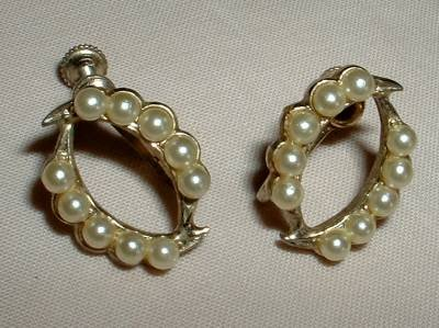 Horseshoe Screw Earrings with Seed Pearls Vintage Jewelry