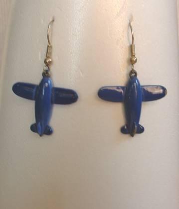 Blue Enamel Airplane Dangle Earrings Vintage Jewelry