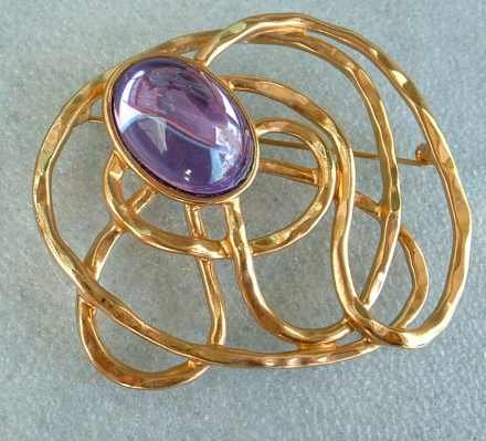 Huge Glass Amethyst Brooch Pin Abstract Design Jewelry