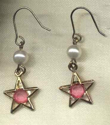 Pink Star Dangle Earrings Pearl Jewelry