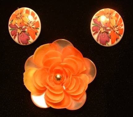 Vintage Lucite Brooch Earrings Married Set Orange Floral Jewelry