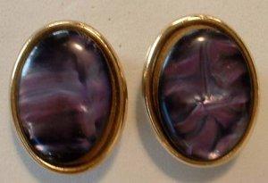 Purple Swirl MOP-Style  Post Earrings Amethyst Colored Jewelry