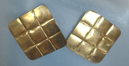 Square Brass Earrings India Post Style Vintage Jewelry