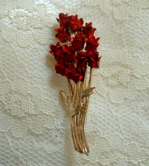 DM Signed Dozen Red Roses Brooch Enamel Mothers Day Jewelry