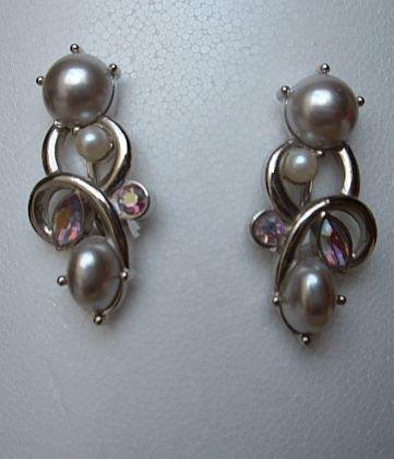 Marvella maybe Faux Pearl AB Marquis Rhinestone Earrings Vintage Jewelry