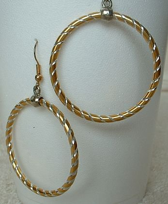 Large Hoop Earrings Sparkly Spiral Design Jewelry