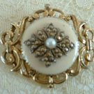 Small Marcastie Faux Pearl Lace Pin Brooch Vintage Jewelry