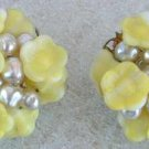 Yellow Molded Glass Floral Clip-On Earrings Filigree Vintage Jewelry