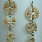 Rhinestone Bead Dangle Earrings Art Deco Style Vintage Jewelry