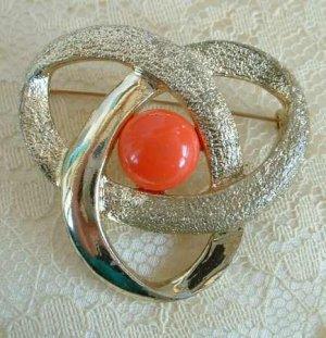 Sarah Coventry Orange Thermoset Swirl Brooch Jewelry