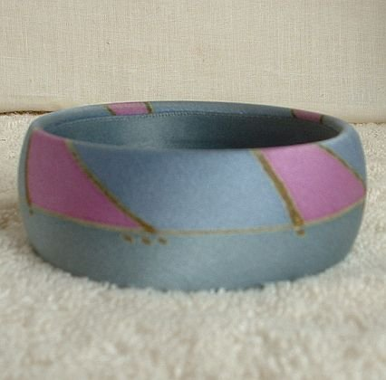 Abstract  Wide Silk Bangle Bracelet Pink Blue Jewelry