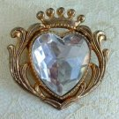 Large Acrylic Faceted Heart Brooch Tiara Vintage Jewelry