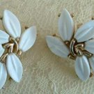 Trifari Crown White Petal Molded Glass Floral Clip Earrings As-Is