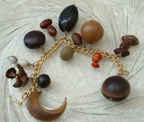 Charm Bracelet Various Seeds Nuts Smaller 6.5 inches Jewelry