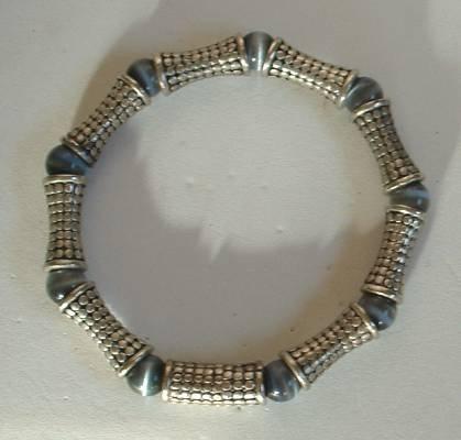 Smoky Quartz Cat's Eye Bracelet Magnetic Clasp Deco Style Jewelry