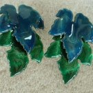 Jacarri Large Leaf Post Earrings Blue Green Enamel Articulated Jewelry
