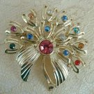 Multi-color Rhinestone Brooch Pin Pink Green Red Blue Jewelry