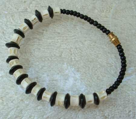 White Bone Black Bead Bracelet 8-inches Barrel Clasp Jewelry