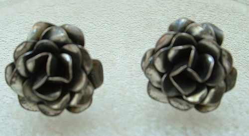 Sterling Silver Rose Floral Earrings Screw-On Style