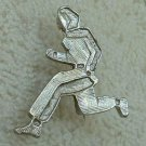 Fencing or Martial Arts Brooch Silvertone Jewelry
