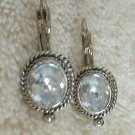Leverback Large Rose Cut Rhinestone Drop Earrings Sparkling Jewelry