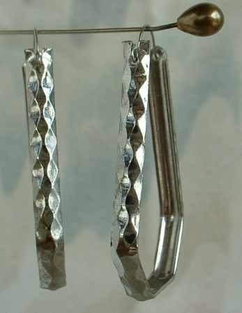 Art Deco Hammered Metal Hoop Earrings Vintage Jewelry