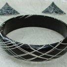 Black White Lacquer Wood Bangle Bracelet Enameled Metal Earrings Set