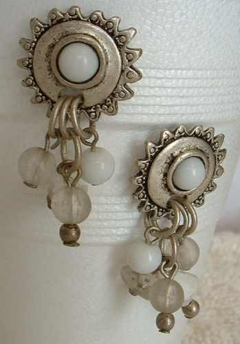 Egyptian Revival White Bead Dangle Earrings Post Style Vintage Jewelry