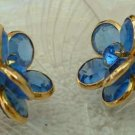 Blue Cluster Faceted Glass Rhinestones Clip Earrings