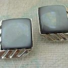 Gray Thermoset Art Deco Style Clip Earrings Chrome Plated Vintage Jewelry
