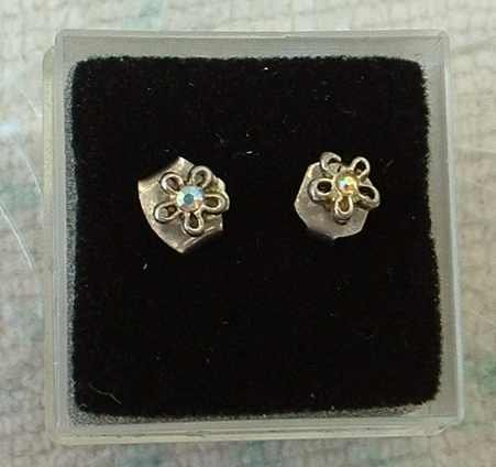 Tiny Watermelon Tourmaline Stud Earrings Floral Design