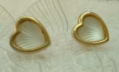 Faux Camphor Glass Heart Earrings Post Style Jewelry