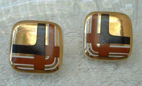 Retro Art Deco Black Brown Copper Ceramic Post Style Earrings Vintage Jewelry