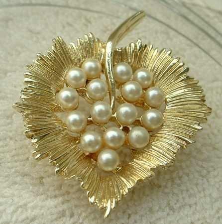Pearl Studded Leaf Brooch Designer Quality Jewelry