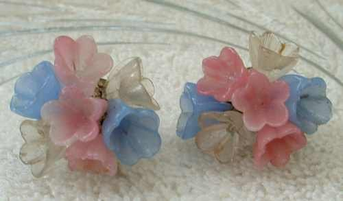 Lucite Molded Flower Earrings Floral Pink Blue Clear Clip Ons Vintage Jewelry
