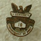 Army 10 year Service Pin