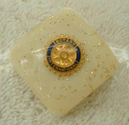 Rotary Int'l Vintage Confetti Lucite Bola Pin Attachment