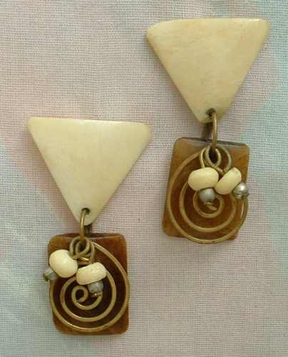 50s Modernist Bone Coil Bead Earrings Post Style Vintage Jewelry