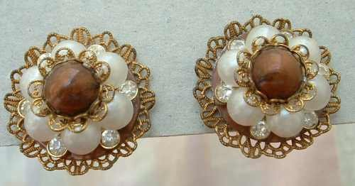 Miriam Haskell Probably Faux Pearl Rhinestone Cluster Screw Vintage Earrings