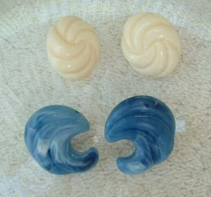Two Pair Celluloid Earrings Post Style Off White Blue Swirl Vintage Jewelry